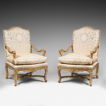 Rare Set of Four Giltwood Ceremonial Armchairs