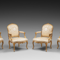 Suite of Six Gilded Wood Armchairs