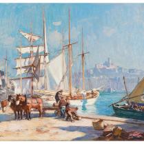 Henri-Alphonse Barnoin (1882-1940) - Balancelle italienne dans le port de Marseille