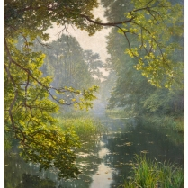 Henri Biva (1848-1928) - Pond in the mist,