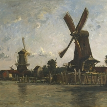 Karl Daubigny (1846-1886) - Windmills on a River Bank, the Netherlands