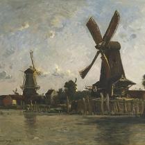Karl Daubigny (1846-1886) - Moulins sur la rive, Pays-Bas