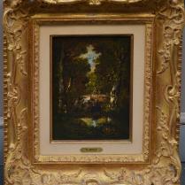 Narcisse V. Diaz de la Peña (1807-1876) - Paysage de sous-bois avec femme