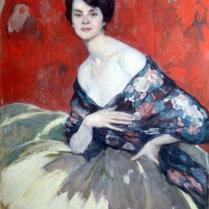 Jean-Gabriel Domergue (1889-1962) - Elégante devant le paravent rouge