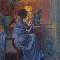Delphin Enjolras (1857-1945) - A Young Woman Admiring a Work of Art