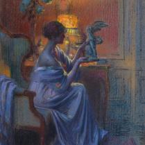 Delphin Enjolras (1857-1945) - Jeune femme admirant une oeuvre d'art