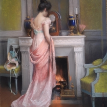 Delphin Enjolras (1857-1945) - A Young Woman in Front of a Fireplace
