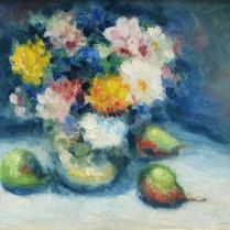 Maurice Louvrier (1878-1954 ?) - Nature morte de fleurs et de poires