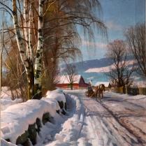 Peder Mørk Mønsted (1859-1941) - Lillehammer enneigé, 1918