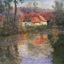 Fritz Thaulow (1847-1906) - Ferme en bord de rivière