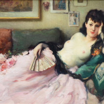 Fernand Toussaint (1873-1956) - A Naked Woman with a Fan