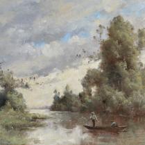 Paul-Désiré Trouillebert (1829-1900) - La pêche au carrelet sur la Loire