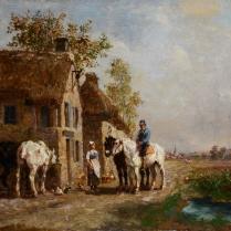 Jules Jacques Veyrassat (1828-1893) - Chevaux à l'abreuvoir