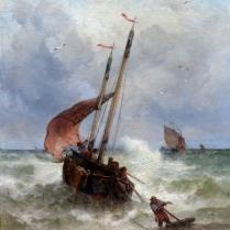 Théodore Alexandre Weber (1838-1907) - Pêche par gros temps