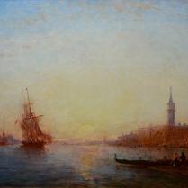 Félix Ziem (1821-1911) - Lever du soleil sur le Quai des Esclavons, Venise