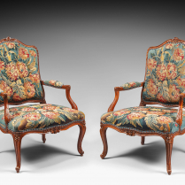 Pair of Natural Wood Armchairs Decorated with a Beauvais Tapestry