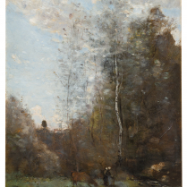 Jean-Baptiste Camille Corot (1796-1875) - Cow Grazing at the Foot of a Birch Tree