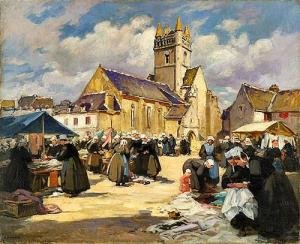 Henri Alphonse Barnoin - Marché à Quimperlé - Musée des Beaux-Arts à Quimper