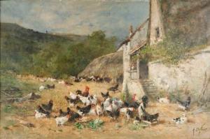Alexandre Defaux - Cour de ferme à Château-Landon - Rennes, Musée des Beaux-Arts