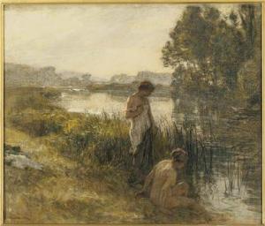 Léon Augustin Lhermitte - Deux baigneuses au bord d'un étang - Paris, Musée d'Orsay